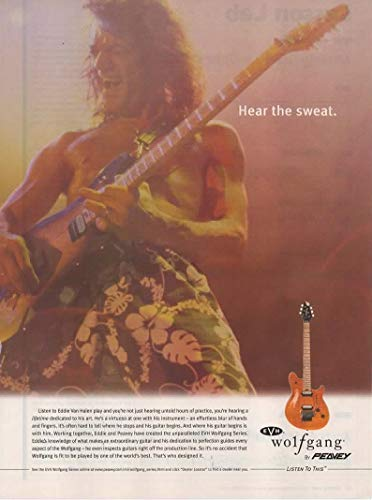 - Magazine Print ad: 2002 Guitarist Eddie Van Halen for Peavey EVH Wolfgang Series Electric Guitar,