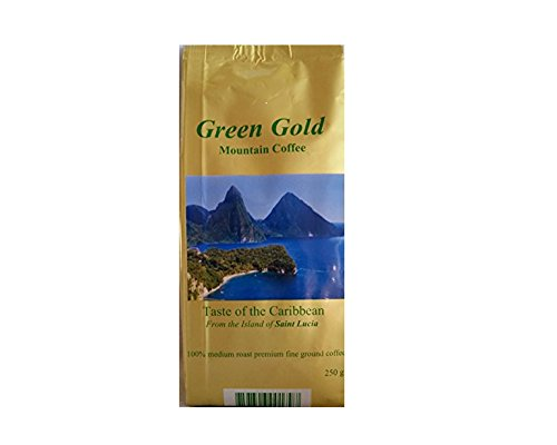Green Gold Mountain Coffee (9oz Ground) - Premium, 100% Caribbean, Gourmet Coffee from the Island of St. Lucia (9 Ounce Ground Coffee)