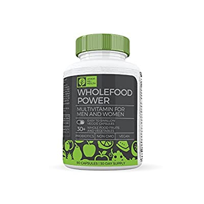 Wholefood Power – Multivitamin and Minerals for Men and Women –– 30+ Real Whole Foods Fruits & Vegetables, Probiotics, Vitamin A, B, C, D, K, CoQ10, Turmeric, B-Complex - Vegan and Made in the USA