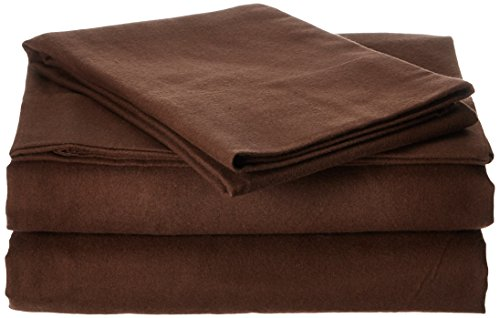 Pointehaven Flannel Deep Pocket Set with Oversized Flat Sheet, Twin, Chestnut