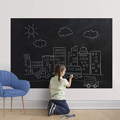 Self Adhesive Chalkboard Wall Sticker, Magnetic Receptive Blackboard Thick Contact Paper with Chalks, Peel and Stick Chalknetic Chalkboard Roll for School, Office, Home (60 x 36 inches)