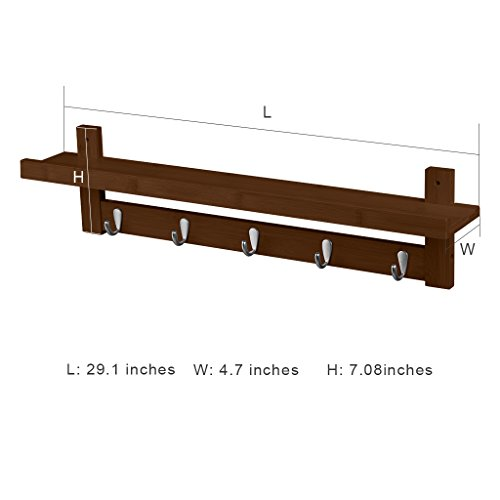 LANGRIA Coat Rack Shelf, Coat Rack Wall-Mounted Bamboo Wooden Hook Rack with 5 Metal Hooks and Upper Shelf for Storage Scandinavian Style for Hallway Bathroom Living Room Bedroom, Bamboo Brown Color by LANGRIA (Image #1)