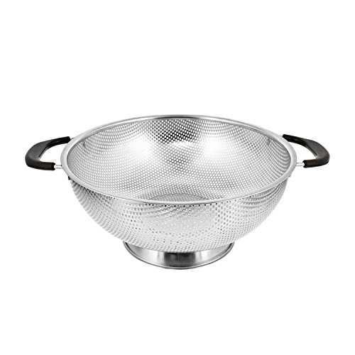 "U.S. Kitchen Supply 5 Quart 11"" Stainless Steel Micro Perforated Colander Strainer Basket with Coated Heat Resistant Wide Handles - Bowl to Strain, Drain, Rinse, Steam or Cook Vegetables & Pasta"
