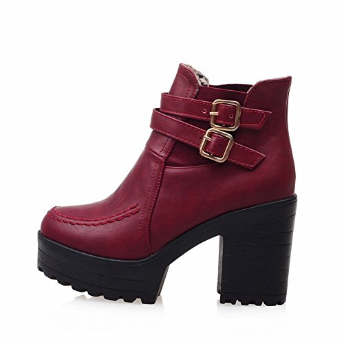 Latasa Womens Fashion Buckle Strap Platform High Block Heel Ankle High Chelsea Boots Jodphur Boots claret-red cuOtsh