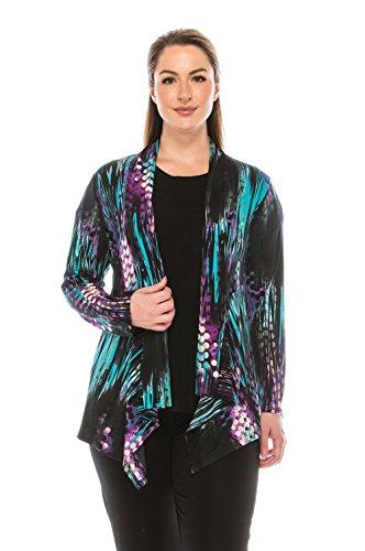 Jostar Women's HIT Mid-cut Jacket Long Sleeve Print Medium Teal Abstract
