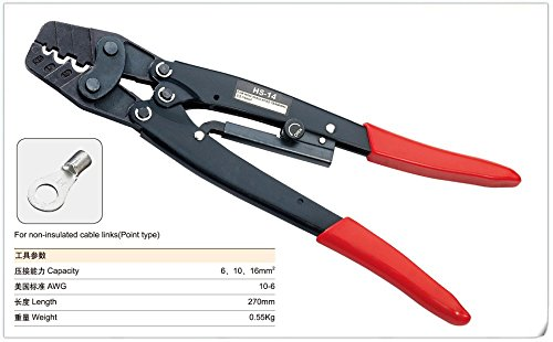 9 Crimping Plier (Saipwell HS-14 5.5-14mm2 10-6 AWG Japanese Style Strength Saving Ratchet Terminal Crimping Plier Crimping Tool)