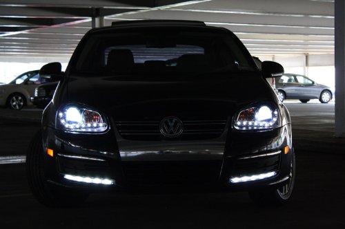 vw jetta golf gti rabbit mkv mk  drl led projector black headlights buy