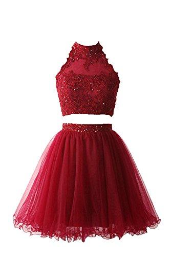 Mini Charmant Traube Spitze Damen Formalkleider teilig Ballkleider Dunkel Rot Abendkleider Brautjungfernkleider Zwei Cocktailkleider AFgTqvxwAW
