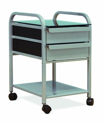 Studio Designs Futura / Vision 2 Drawer Organizer in Silver with Blue Glass - Studio Design 2