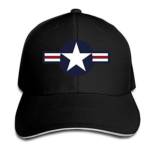 (Us Air Force Logo Black Adjustable Flat Caps Unisex Sandwich Hats)