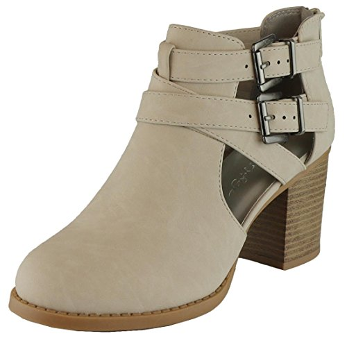 Cambridge Select Women's Side Cut Out Buckle Chunky Stacked Heel Ankle Bootie (9 B(M) US, Light Taupe (Womens Side Buckle)