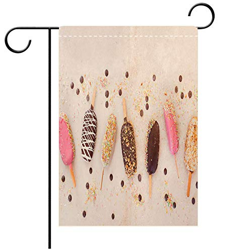 BEICICI Garden Flag Double Sided Decorative Flags Ice Cream Sticks with Chocolate Fruit Roasted Almonds and Colourful Sugar Sprinkles Best for Party Yard and Home Outdoor Decor
