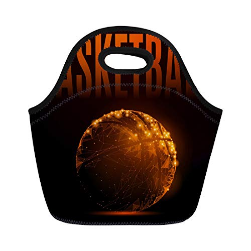 Semtomn Lunch Bags Abstract Mash Line and Point Basketball Ball in Flames Neoprene Lunch Bag Lunchbox Tote Bag Portable Picnic Bag Cooler Bag