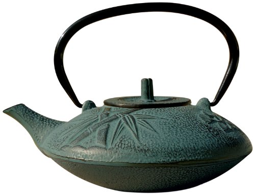Old Dutch Cast Iron Sakura Teapot, 37-Ounce, Shale Green