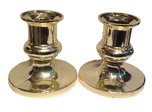 12 Gold Plastic Acrylic Candle Holders for Taper Candles