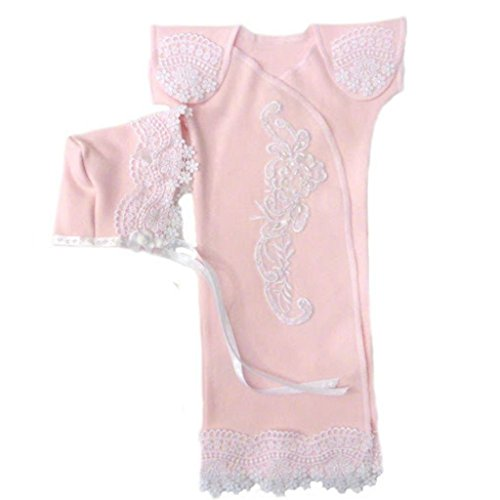 Jacqui's Baby Girls' Stunning Pink Lace Preemie Gown Set. Preemie