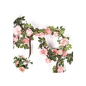 Artificial Flowers 1Pc 240Cm Rose Silk Rose Flower with Ivy Vine String for Wedding Decoration Flower Garland,Pink 62