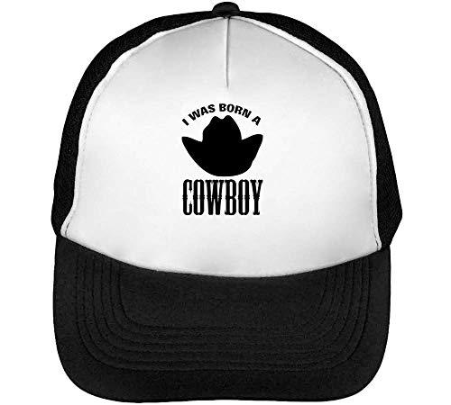 Born Beisbol A Hombre I Cowboy Negro Gorras Blanco Was Snapback TvxqxH
