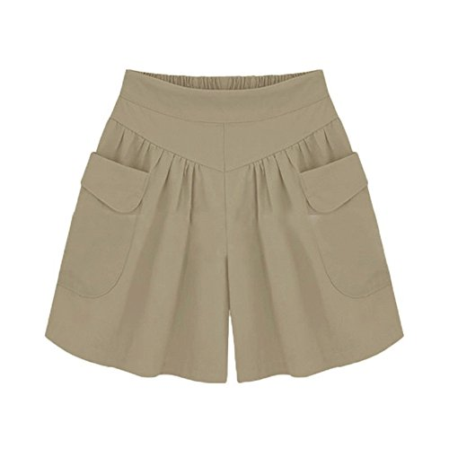 Women Elastic Waist Pocket Pull-On Wide Leg Pants Comfy Bermuda Shorts Lounge Trouser Harem Plus Size Simple Bottoms Khaki