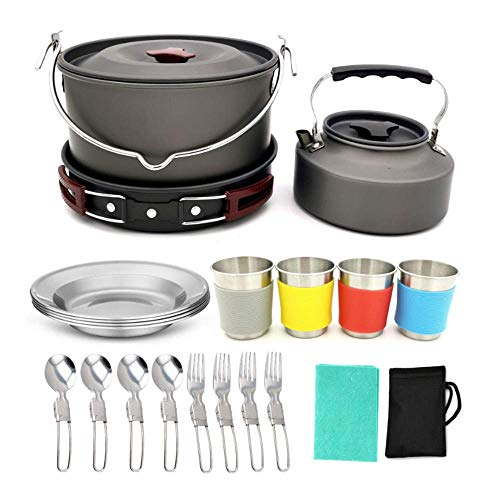 CHUSHENG 22 Camping Cookware Sets, Pan Aluminum Alloy Light Folding Kitchen Set, Suitable for 3-4 Crowd Backpack Camping Hiking Barbecue Picnic