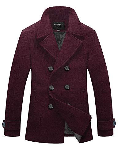 Match Mens Wool Blend Classic Pea Coat Winter Coats(010, Claret Large)