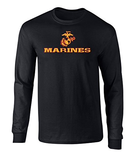 US Marines Two Tone Logo Graphic Long Sleeve Officially Licensed T Shirt Black Large