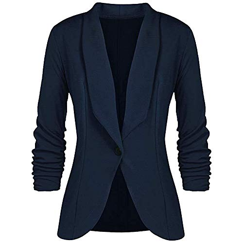 Fashion Women OL Style Three Quarter Sleeve Blazer Elegant Slim Suit Coat Navy