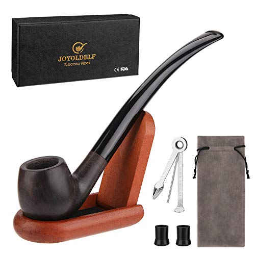 (Joyoldelf Churchwarden Tobacco Pipe Set, Luxury Wood Smoking Pipe with Pipe Stand and Other Smoking Accessories & Gift Box, Perfect Festive Gift )
