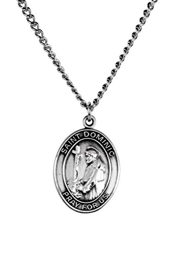 (Sterling Silver Catholic Patron Saint Dominic Medal Pendant, 1 Inch)