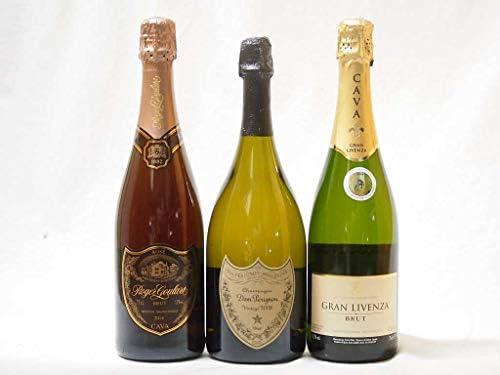 ドンペリ飲み比べ3本セット(ドンペリニヨン白正規品 ロジャーグラートロゼ グランリベンサ・ブリット)750ml×3本