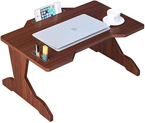 シンプルな小さなテーブル/シンプルなベッドデスク木製折りたたみテーブル小さなテーブルのノートブックラップ表レイジーベッド読書調査表(サイズ:60x40x28cm)