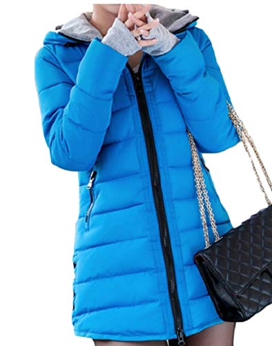 Down Womens 8 Thumb Hole Winter Parka Jacket security Hooded Warm Quilted fq84OOw