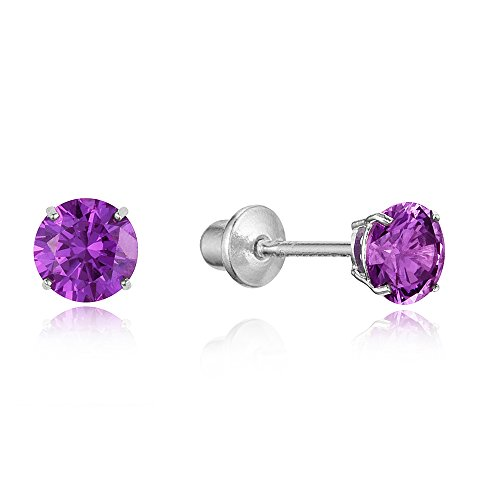 925 Sterling Silver Rhodium Plated 4mm Cubic Zirconia Stud Screwback Baby Girls Earrings 925 Silver Plated Earrings