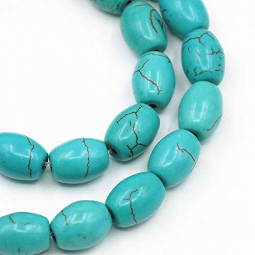 Calvas Turkey Veins Turquoises Stone Bucket Shape Rice 8x10mm Loose Spacer Calaite Beads for Jewelry Making DIY Finding Craft 16