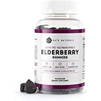 Elderberry Gummies for Adults & Kids (90 Gummies) - Kate Naturals. Perfect for Immune System Support & Metabolism. Has Vitamin C and Zinc. 1-Year Guarantee. Sambucus Nigra. Tasty Vitamin Alternative
