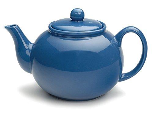 RSVP Large Stoneware 6-Cup Teapot, Light Blue