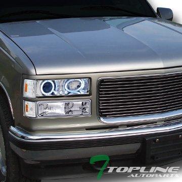Topline Autopart Chrome Led Halo Projector Headlight+Bumper+Parking Corner Am 94-00 Gmc C10 Truck -
