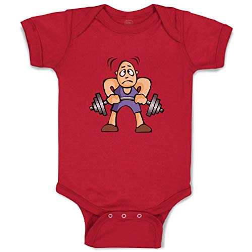 Custom Boy & Girl Baby Bodysuit Boy with Barbell Funny Cotton Baby Clothes Garnet Design Only 6 - Barbell Garnet