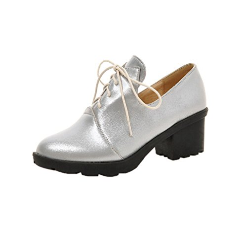 PU WeiPoot Toe Kitten Pumps Round up Women's Shoes Silver Heels Solid Lace FA6TErAn
