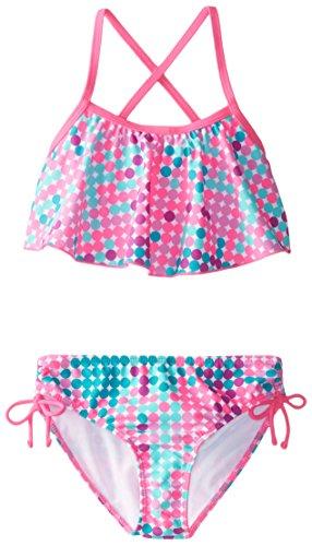 Kanu Surf Big Girls' Alania Flounce Bikini Beach Sport 2 Piece Swimsuit, Nikki Pink Dot, 10