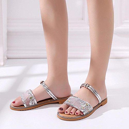 JIANGfu Sandales Femme Femmes Été Mesh Chaussures extérieur Rome de Pantoufles Plage Pantoufles intérieur Plat Air Chaussures Mode Sandales Argent Plat r4rpxwd