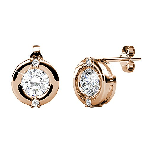 Cate & Chloe Zara Radiant Rose Gold Stud Earrings, 18k Rose Gold Plated Stud with Solitaire Round Cut Swarovski Crystal, Stud Earrings for Women, Ear Studs - Hypoallergenic (Rose Gold)