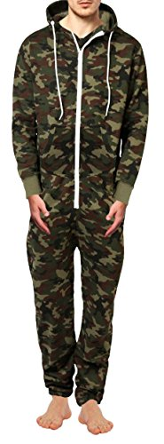 SKYLINEWEARS Men's Fashion Onesie Printed Playsuit Jumpsuit Overall Camo Green XL