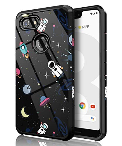 PBRO Google Pixel 3 XL Case,Cute Astronaut Cartoon Case Dual Layer Heavy Duty Hybrid PC+TPU Heavy Duty Protective Anti-Scratch Shockproof Fit for Google Pixel 3 XL(2018) Release Space/Black