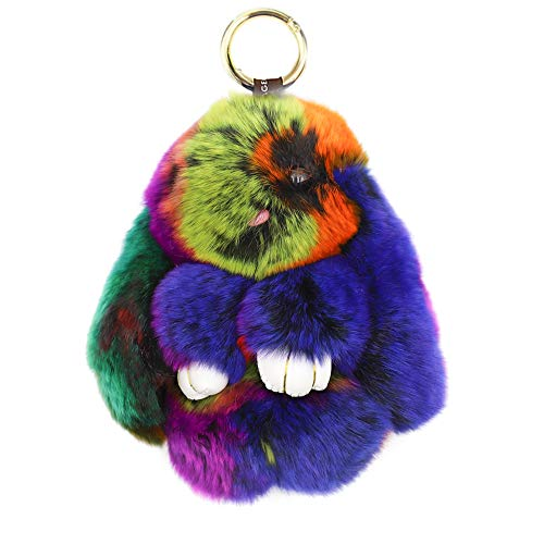 CHUANGLI Lovely Rabbit Doll Bunny Keychain Fur Plush Keyfob Decor for Car Accessories Colorful ()