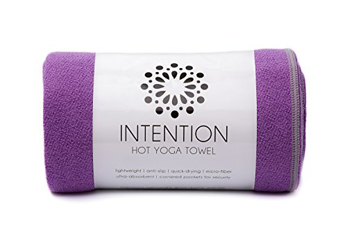 Intention Yoga Towel - Microfiber Hot Yoga Towel, Non Slip Corners, Protect Yoga Mat and Improve Grip - 26x72 - Purple