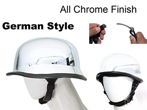 Dream Apparel Motorcycle Skull Cap German Novelty All Chrome Skull Cap Helmet W/Adjustable Chin Strap (XX-Large 24.2
