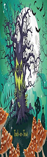 Halloween Decorations 3D Decorative Film Privacy Window Film No Glue,Frosted Film Decorative,Trick or Treat Dead Forest with Spooky Tree Graves Big Kids Cartoon Art,for Home&Office,17.7x59Inch Multi ()