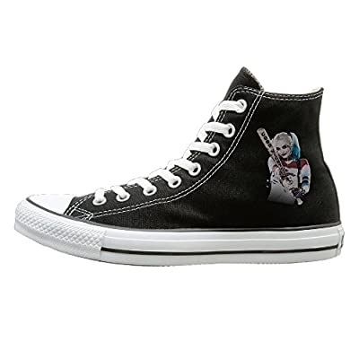 BI Harley Quinn Fashion Unisex Flat Canvas High Top SneakerOxford Black