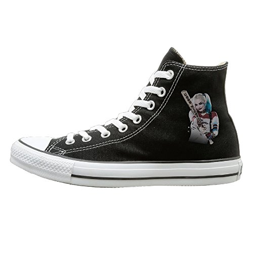 BI Harley Quinn Casual Unisex Flat Canvas High Top SneakerSportstyle 40 Black
